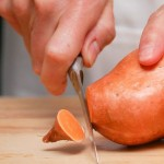 cutting sweet potato- Photo by Steve Johnson in https://www.flickr.com/photos/artbystevejohnson/5183843480 shared under a Creative Commons license